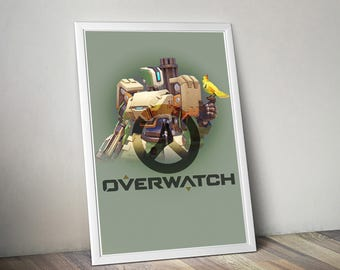 Overwatch BASTION Poster, Game Poster, Flat Print Design, Digital Printable Poster, Blizzard wall art, Instant Download, game art