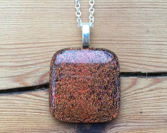 Glittery Copper Glass Necklace, Fused Glass Jewellery, Sparkly Copper, Dichroic Glass, Mulitcoloured Necklace, Gift For Her