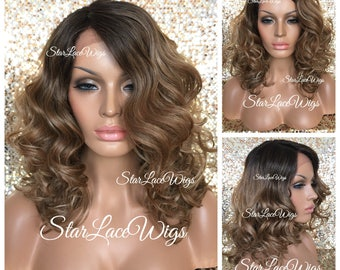 Lace Front Wig - Curly - Side Part - Pecan Brown Blonde Mix - Dark Roots #4 - Swiss Lace - Shoulder Length - Heat Safe Ok
