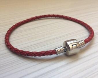 1 pcs Bracelet red leather / Leather bracelet Red / charms Fit