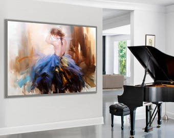 "Dancing Woman, Flamenco Spanish Passion Dancer,  36x48""/90x120cm Large Dance Painting"
