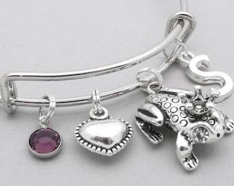 Frog With Crown charm bracelet   frog bangle   personalised frog bracelet   frog jewelry   frog gift   initial letter   birthstone