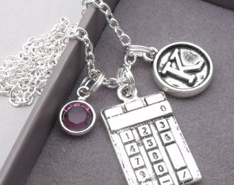 Calculator vintage style initial necklace | maths necklace | calculator pendant | personalised calculator | calculator jewelry | maths gift