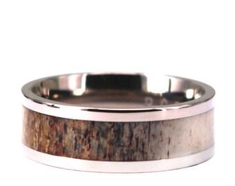 Antler Titanium Ring Antler Band Deer Antler Wedding Ring Mens Antler Bands Rings By Pristine