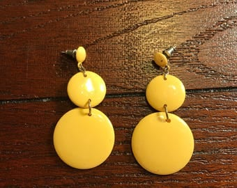 Vintage 1960s Yellow Dangle Earrings