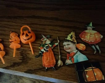 Halloween lot: 4 wooden magnets and 3 vintage cupcake toppers (magnets can be used as pins/brooches, too!)