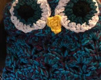 Crochet Owl Hooded Blanket