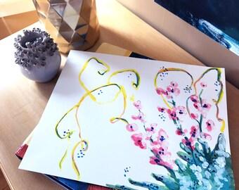 Alstroemeria Flower Original Acrylic Painting in Pink