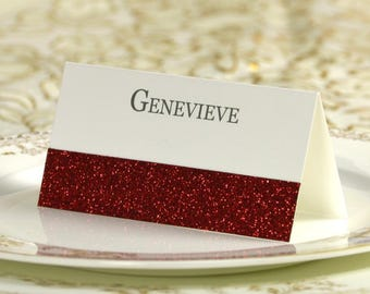 50 Red Glitter Wedding Party Table Name Place Cards Customized With Name Bridal Shower Party Table Decorations NP53