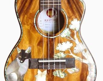 Kaytro - Ukulele Tenor 4 String Handmade - Wolf Inlaid - Solid Acacia Koa Cutaway  UKU2874