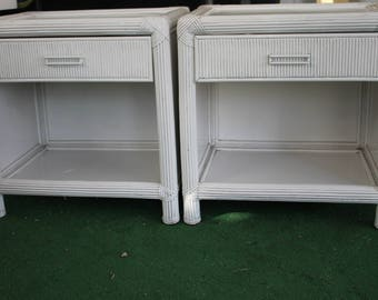 White Wicker Nightstand End Table - Four Available