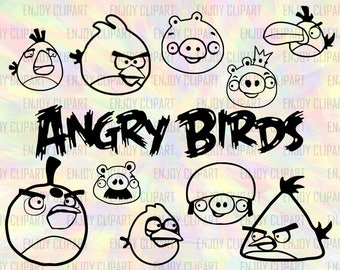 Angry Birds Svg, Angry Birds Clipart, Svg Files For Silhouette, Svg Downloads, Svg Decals, Cutting Dies, Png Files, Dxf Files