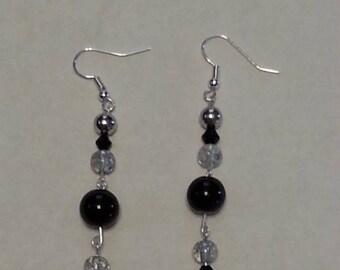 Midnight crstal with swarvoski  dangle earrings