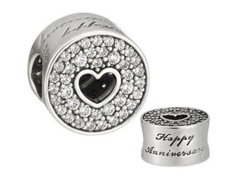 Genuine CHARM Happy Anniversary for Pandora jewelry Silver S925