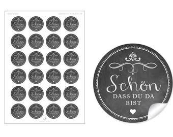 """24 STICKERS: Beautiful labels in the """"chalk-board-look"""" in anthracite / black with heart and ornaments """"I'm glad you're here"""""""