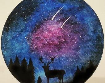 Watercolor painting galaxy and deer