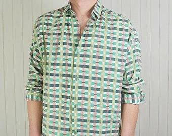 Checkered shirt, Vintage shirt, cotton, green shirt, sleeve 3/4, Vintage style