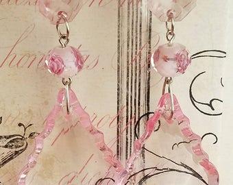 Clear pink crystal earrings,  clear earrings,  pink earrings,  crystal earrings, clear,  pink,  crystal