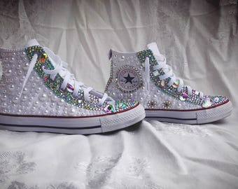 Custom Fully Covered Pearl/Rhinestone Chuck Taylor Converse