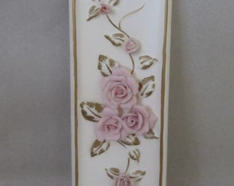 Vintage Lefton China Wall Art - Pink Roses
