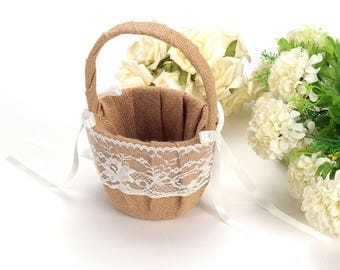 Rustic Burlap Lace Flower Girl Basket Wedding Ceremony Party Hessian Decoration Favor