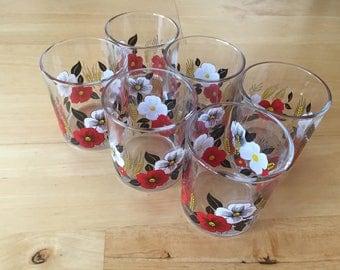 set of 6 retro drinking glasses