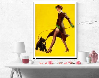 Gil Elvgren Pin up Girl with Scottie dog Vintage Art Poster Print Canvas Print Wall Art Retro pinup poster size A2/A3/A4