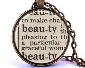 Beauty Dictionary Pendant Necklace
