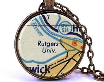 Rutgers University, New Jersey Map Pendant Necklace - Created from a vintage map published in 1956.