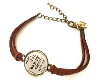 Happy Dictionary Bracelet - Made from a vintage dictionary. Birthday Gift, Graduation Gift, Unique Gift, Gift for Her, Boho Chic