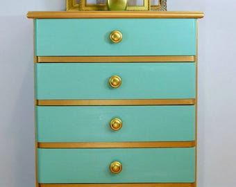 SOLD - Teal and Gold 5 drawer dresser