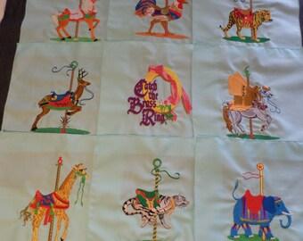 Lot of 9 Animal Carousel Quilt Blocks