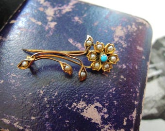 Antique Victorian Gold Turquoise and Pearl Brooch