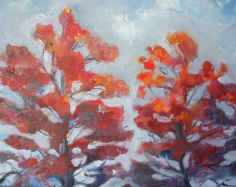 Sunset trees oil painting