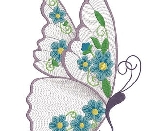 Floral Butterfly - Machine Embroidery Design