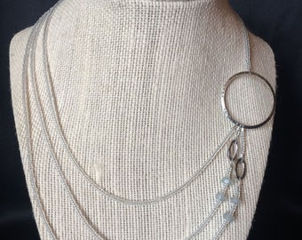 Off Center Hammered Circle Necklace (white and silver)