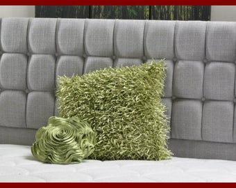 Superking Bed Size Torino 3 Tier Headboard Black Chenille Fabric