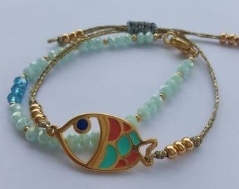 Set of bracelets fish multicoloured/multicolored fish bracelet set