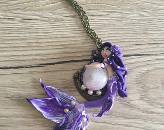 Siren/Mermaid, mermaid purple with violet stone necklace polymer clay fimo