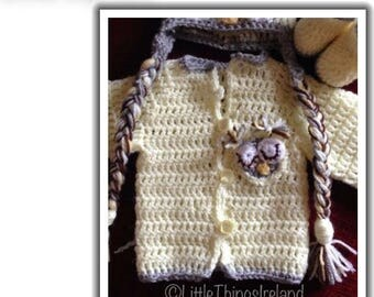 Crochet Owl Hat,Cardigan & Booties Set - Available from Preemi to 1Yr old sizes