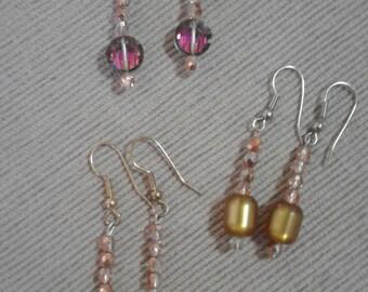 Costume Crystal and Bead Earrings Set of Three