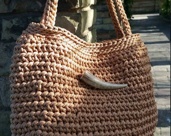 Handmade/Light Brown/Crochet/Knitted/ Rope/Original Handbag Decorated with Elk Horn