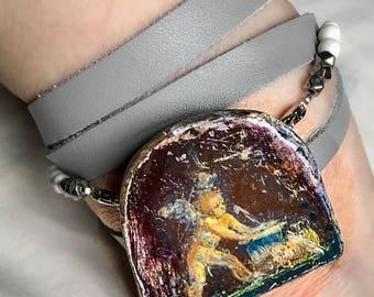 "Ancient Roman Art Bracelet - ""Pompeiian"" - Cupid"