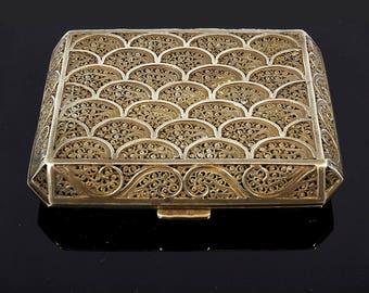 Antique Silver Filigree Compact Box