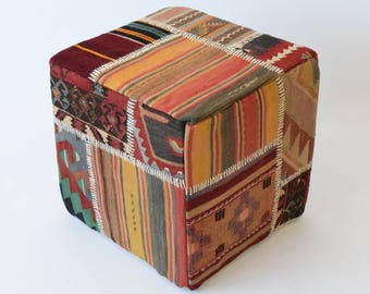 Handwoven patchwork kilim rug pouf 002
