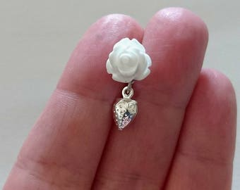 White resin rose studs, with strawberry charm