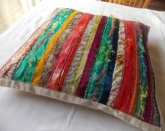 Multi-coloured, strip cushion cover