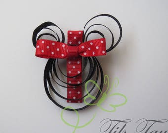 Minnie mouse hair clip, band, red bow, grosgrain ribbon, toddler hair, accessories