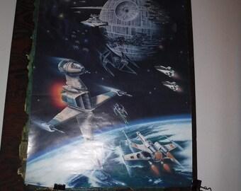Star Wars Poster Space Battle Death Star 1983 Official Star Wars Fan Club