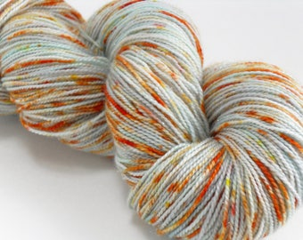 Hand Dyed Sparkling Silver Speckled Sock Yarn Heavy Orange Speckles handdyed hand-dyed